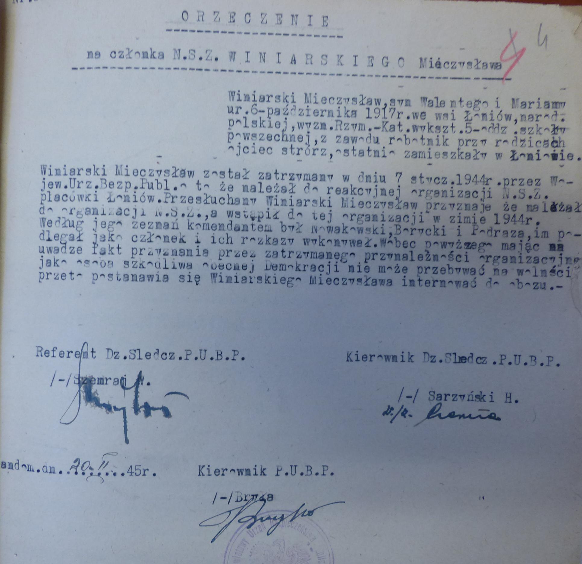 Fot. Materiał ze śledztwa przeciw Winiarskiemu z czasów przynależności do NSZ