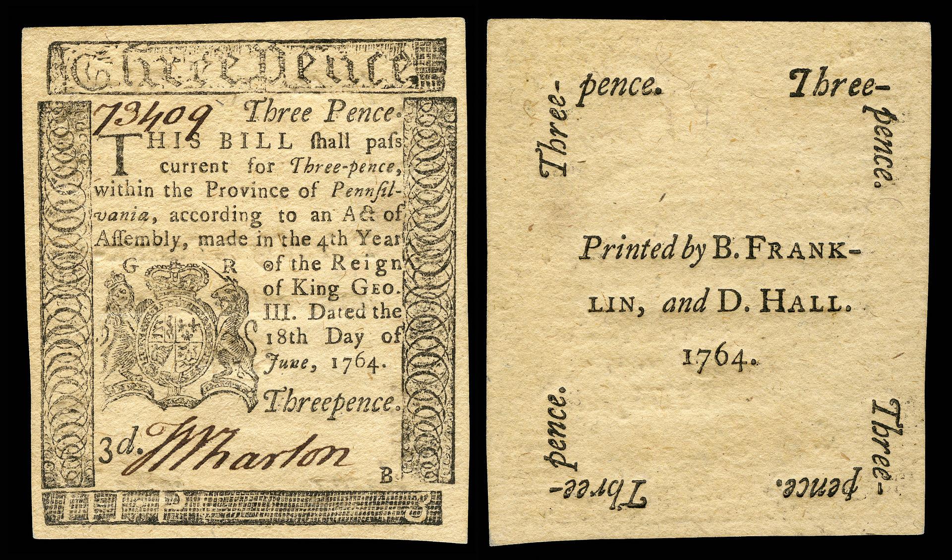 Kwity Kolonialne -pieniądze amerykańskich kolonii